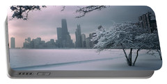 Snow Covered Tree On The Beach Portable Battery Charger