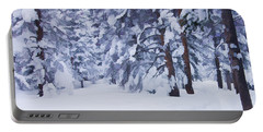 Snow-dappled Woods Portable Battery Charger by Don Schwartz
