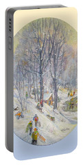 Portable Battery Charger featuring the painting Snow Day by Donna Tucker