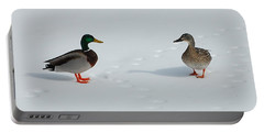 Portable Battery Charger featuring the photograph Snow Ducks by Mim White