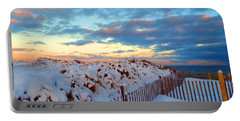 Snow Dunes At Sunrise Portable Battery Charger