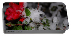 Portable Battery Charger featuring the photograph Snow Rose by Mim White