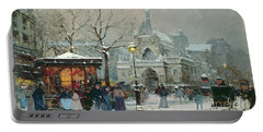 Snow Scene In Paris Portable Battery Charger