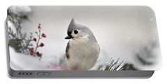 Snow White Tufted Titmouse Portable Battery Charger by Christina Rollo