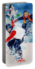 Portable Battery Charger featuring the painting Snowboard Super Heroes by Hanne Lore Koehler