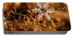 Snowflake On Brown Portable Battery Charger