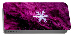 Snowflake On Magenta Portable Battery Charger