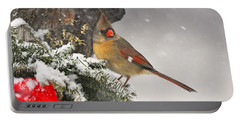 Female Cardinal Snowing Portable Battery Charger