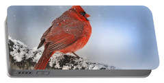 Portable Battery Charger featuring the photograph Snowing On Red Cardinal by Nava Thompson