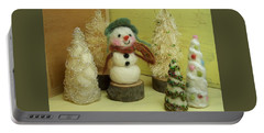Snowman And Trees Holiday Portable Battery Charger