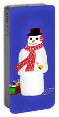Portable Battery Charger featuring the digital art Snowman by Barbara Moignard