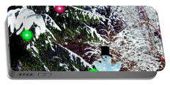 Portable Battery Charger featuring the digital art Snowman by Daniel Janda