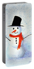 Snowman Portable Battery Charger by Marna Edwards Flavell