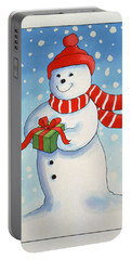 Snowmans Christmas Present Portable Battery Charger