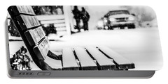 Snowy Bench Portable Battery Charger by Shelby  Young