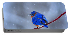 Snowy Bluebird Portable Battery Charger by Nava Thompson