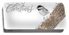 Snowy Chickadee Christmas Card Portable Battery Charger