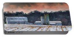 Snowy Cornfield Portable Battery Charger
