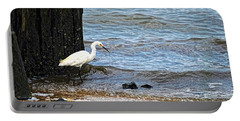 Snowy Egret At The Shore Portable Battery Charger
