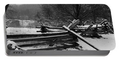 Snowy Fence Portable Battery Charger by Michael Porchik