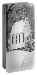 Snowy Gates Chapel -white Church - Portrait View Portable Battery Charger