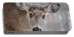 Snowy Lashes Portable Battery Charger by Amy Porter