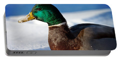 Snowy Mallard Portable Battery Charger by Eleanor Abramson