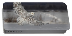 Snowy Owl In Flight Portable Battery Charger