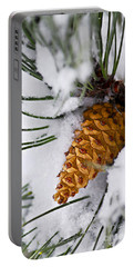 Snowy Pine Cone Portable Battery Charger