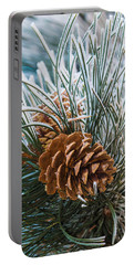 Snowy Pine Cones Portable Battery Charger