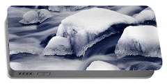 Portable Battery Charger featuring the photograph Snowy Rocks by Liz Leyden