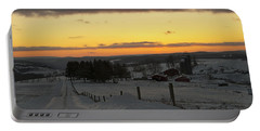 Snowy Pennsylvania Sunset Portable Battery Charger