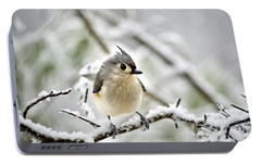 Snowy Tufted Titmouse Portable Battery Charger by Christina Rollo