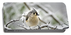 Snowy Tufted Titmouse Portable Battery Charger