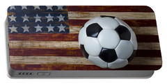 Soccer Ball And Stars And Stripes Portable Battery Charger by Garry Gay