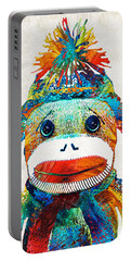 Sock Monkey Art - Your New Best Friend - By Sharon Cummings Portable Battery Charger