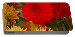 Portable Battery Charger featuring the photograph Sockeye And Upmost Dahlias by Jordan Blackstone