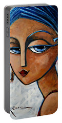 Portable Battery Charger featuring the painting Sofia by Oscar Ortiz