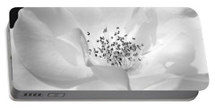 Soft Petal Rose In Black And White Portable Battery Charger
