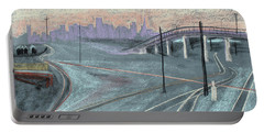 Portable Battery Charger featuring the painting Soft Sunset Over San Francisco And Oakland Train Tracks by Asha Carolyn Young