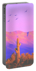 Portable Battery Charger featuring the painting Solitary Silent Sentinel by Sophia Schmierer