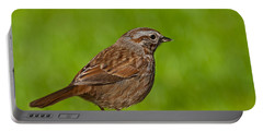 Song Sparrow On A Log Portable Battery Charger