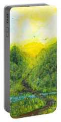 Portable Battery Charger featuring the painting Sonsoshone by Holly Carmichael