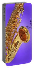 Sounds Of The Sax In Purple Portable Battery Charger by Gill Billington