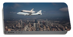 Space Shuttle Endeavour Over Houston Texas Portable Battery Charger