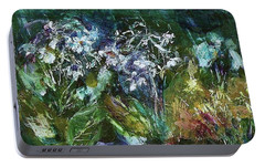 Portable Battery Charger featuring the painting Sparkle In The Shade by Mary Wolf