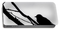 Portable Battery Charger featuring the drawing Sparrow In A Gray Sky by D Hackett