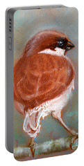 Portable Battery Charger featuring the pastel Sparrow by Jasna Dragun