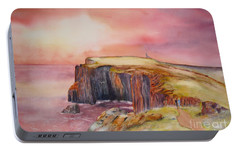 Portable Battery Charger featuring the painting Spectacular On The Isle Of May Scotland by Beatrice Cloake