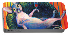 Sphynx Cat Relaxing Portable Battery Charger by Svetlana Novikova